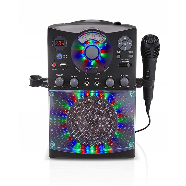 Singing Machine SML385BT 54 LED Disco Lights karaoke Bluetooth-compatible  system Works with all music and karaoke apps w/2 Microphone Jacks